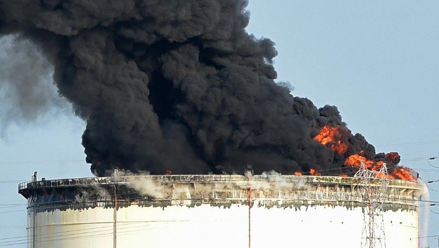 De la fumée s'échappe du site pétrochimique de LyondellBasell à Berre-l'Etang (près de Marseille), le 14 juillet 2015