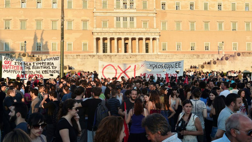 Manifestation à Athènes le 13 juillet 2015 contre l'accord  conclu à Bruxelles entre les Européens et les Grecs