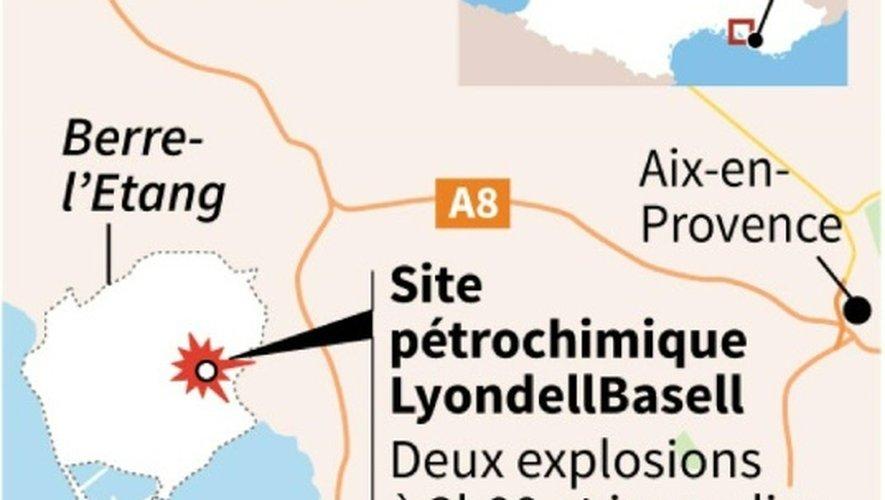 Carte de localisation des explosions et incendies sur un site pétrochimique à Berre-l'Étang, dans les Bouches-du-Rhône