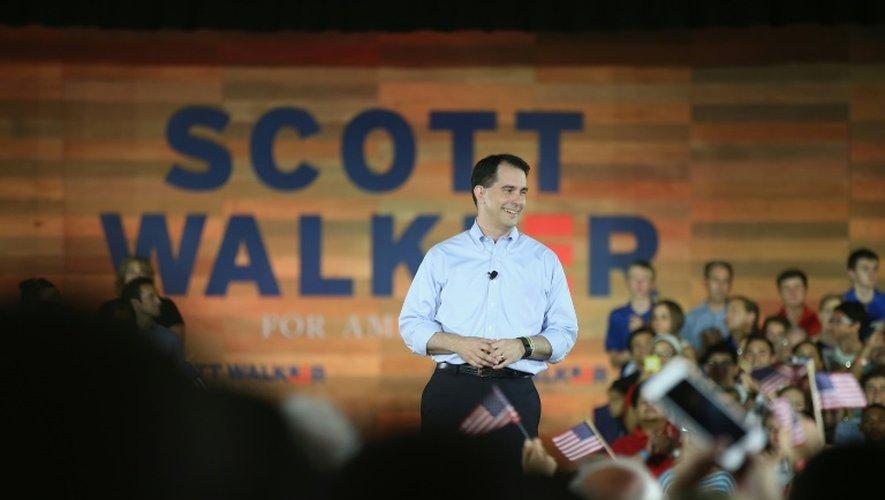 Le gouverneur Scott Walker lors de l'annonce de sa course à l'investiture républicaine pour la présidentielle, à Waukesha (Wisconsin), le 13 juillet 2015