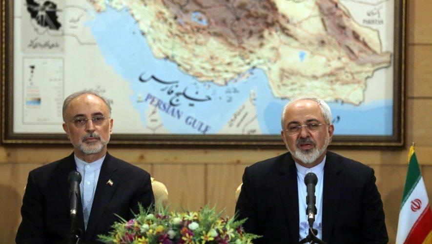 Le ministre iranien des Affaires étrangères Mohammed Javad Zarif (g) et le responsable du nucléaire iranien Ali Akbar Salehi, s'expriment lors d'une conférence de presse le 15 juillet 2015 à Téhéran