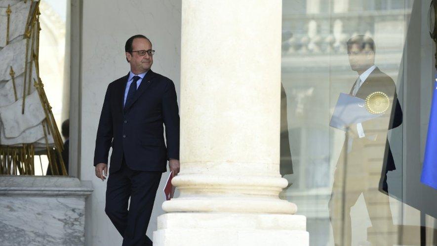 François Hollande à l'Elysée, à l'issue du Conseil des ministres, le 15 juillet 2015