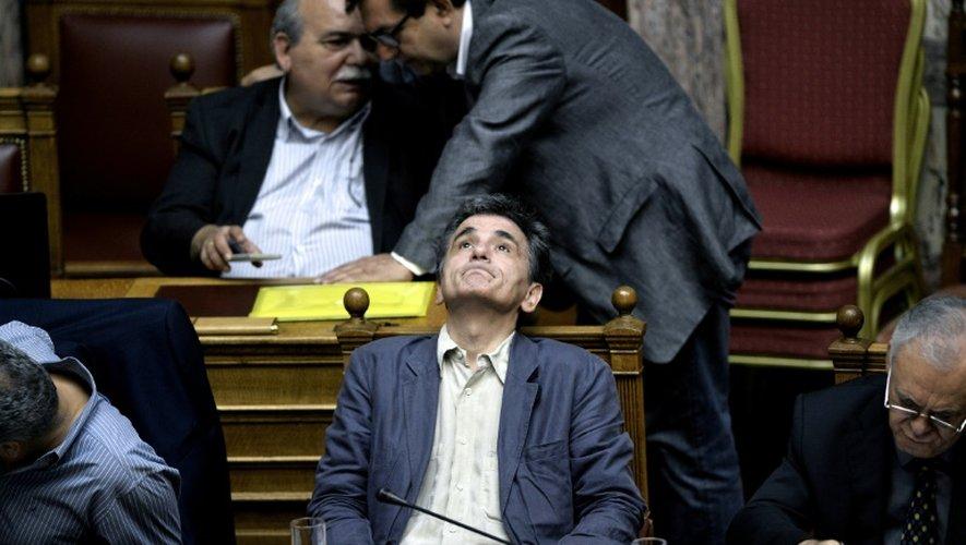 Le ministre grec des Finances Euclide Tsakalotos, lors d'une session parlementaire à Athènes le 15 juillet 2015