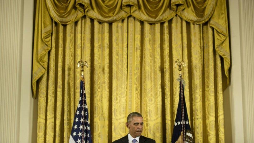 Le président américain Barack Obama donne une conférence de presse, le 15 juillet 2015 à la Maison Blanche à Washington