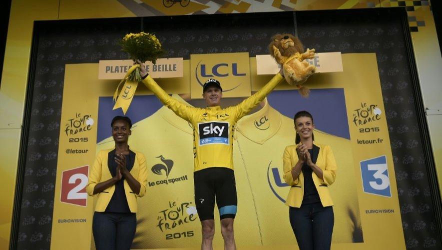 Le Britannique Chris Froome, toujours maillot jaune du Tour de France, à l'issue de la 12e étape au Plateau de Beille, le 16 juillet 2015