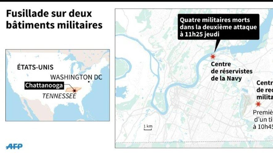 Carte de localisation des deux bâtiments militaires de Chattanooga, aux Etats-Unis, visé par un tireur solitaire et chronologie des attaques