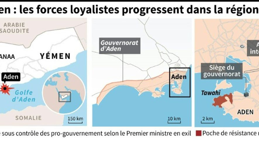 Cartes du Yémen où les forces pro-gouvernnementales ont repris la province d'Aden, selon le Premier ministre en exil