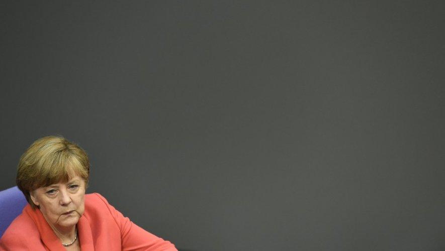La chancelière allemande Angela Merkel en session plénière au Bundestag à Berlin, le 17 juillet 2015