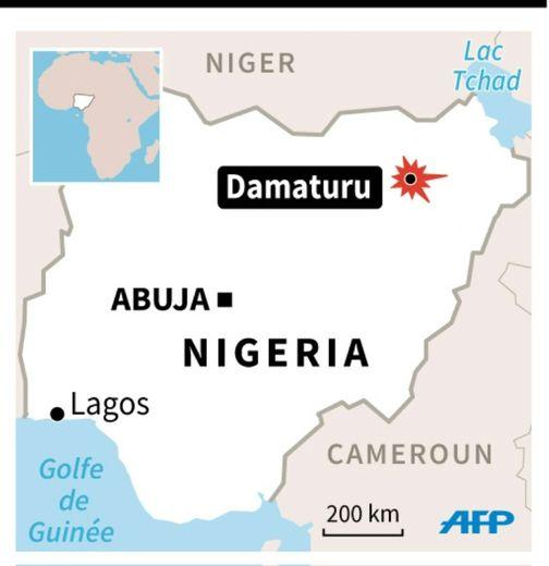 Localisation de Damatru au Nigeria, où trois mineures kamikazes se sont fait exploser