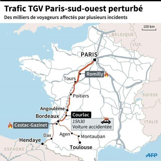 Localisation des différents incidents qui ont perturbé vendredi soir le trafic SNCF dans le sud-ouest
