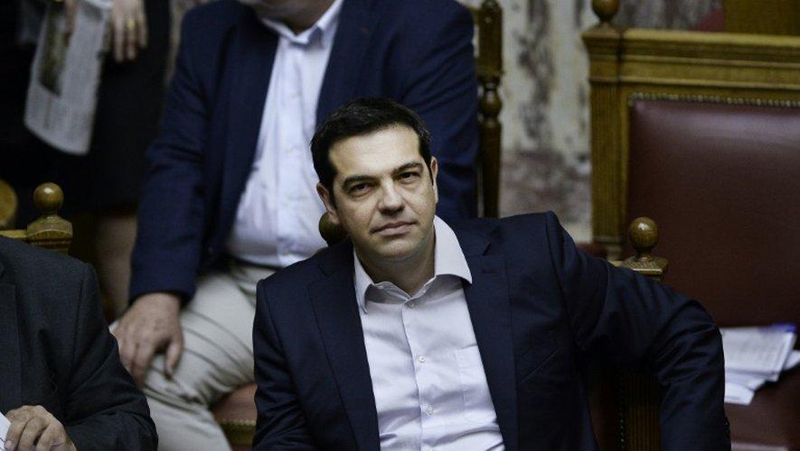 Le Premier ministre grec Alexis Tsipras lors d'une session au Parlement à Athènes le 27 juin 2015