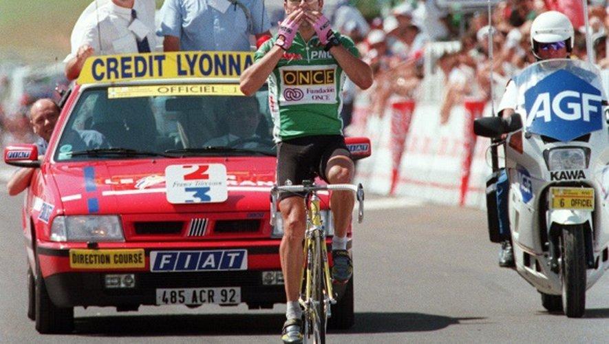 Laurent Jalabert vainqueur de l'étape de Mende lors du Tour de France 1995, le 14 juillet