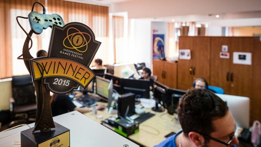 """Dans les locaux de """"11 bit studios"""", développeurs de jeux vidéos, à Varsovie, le 2 juillet 2015"""
