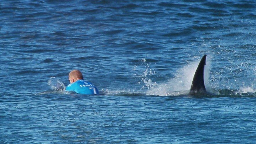 Photo fournie par la Ligue mondiale de surf montrant le surfeur australien Mick Fanning attaqué par un requin, le 19 juillet 2015 à Jeffreys Bay, en Afrique du Sud