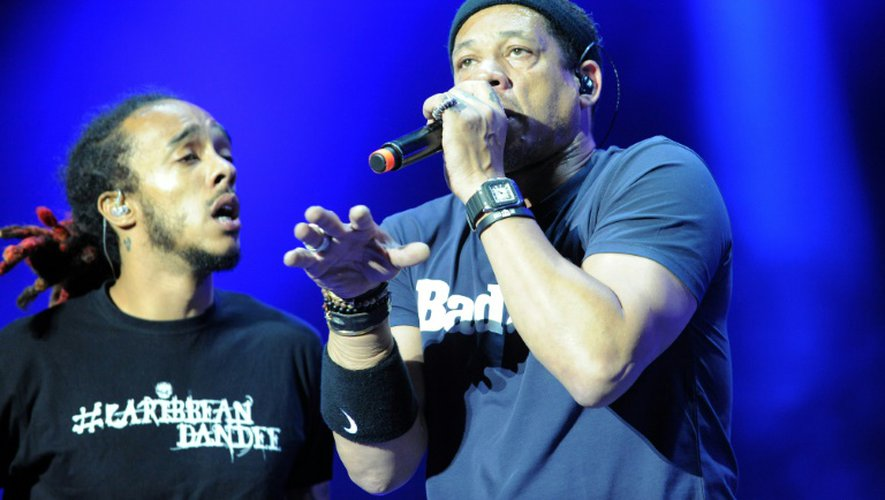 Le chanteur JoeyStarr et son groupe Caribbean Dandee aux Vieilles Charrues à Carhaix-Plouguer, le 19 juillet 2015