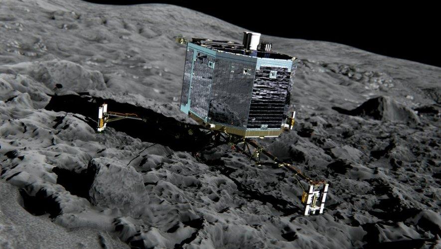 Le robot spatial Philae représenté par un artiste sur la surface de la comète 67p/Churyumov-Gerasimenko, photo diffusée le 20 décembre 2013 par l'Agence spatiale européenne