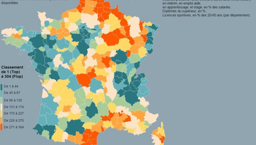 La carte est un classement de la qualité de vie en France par zone d'emploi.