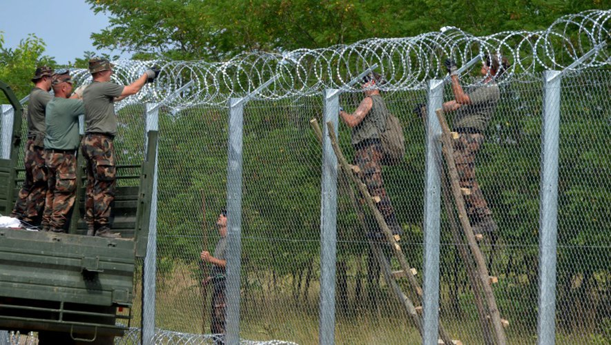 Des militaires hongrois travaillent le 18 juillet 2015 sur l'édification d'un clôture métallique pour stopper les migrants à sa frontière avec la Serbie près du village de Morahalom