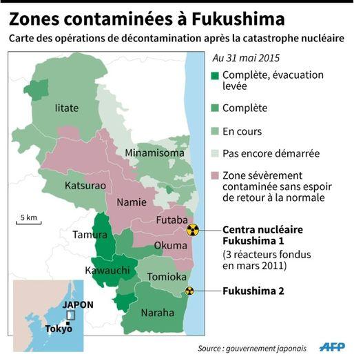 Zones contaminées à Fukushima