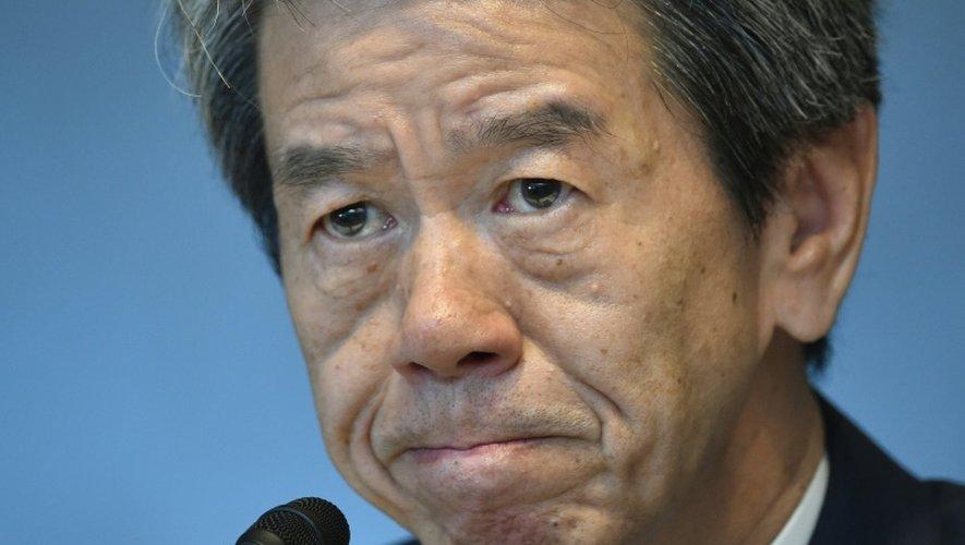 Le PDG de Toshiba Hisao Tanaka lors d'une conférence de presse à Tokyo le 21 juillet 2015