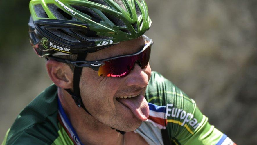 Thomas Voeckler en difficulté lors de la 11e étape du Tour de France, le 15 juillet à Cauterets dans les Hautes-Pyrénées