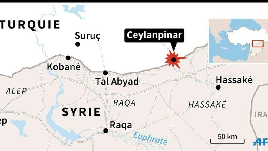 Carte de la frontière syrienne localisant Ceylanpinar, où ont été retrouvés morts deux policiers turcs