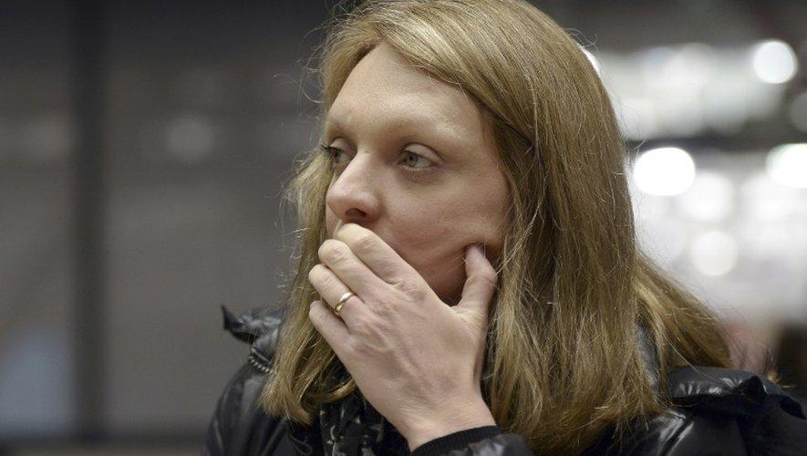 Rachel Lambert, le 7 janvier 2015 à Strasbourg, avant une audience de la Court européenne des droits de l'homme (CEDH) sur la situation de son mari Vincent Lambert
