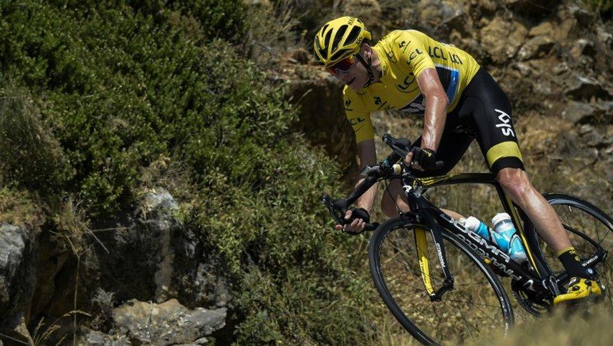 Le Britannique Christopher Froome, leader du Tour de France, lors de la 17e étape, le 22 juillet 2015 à Pra-Loup