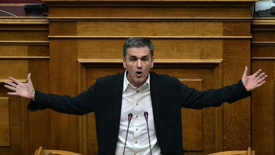 Le ministre grec des Finances Euclide Tsakalotos devant le Parlement à Athènes, le 22 juillet 2015