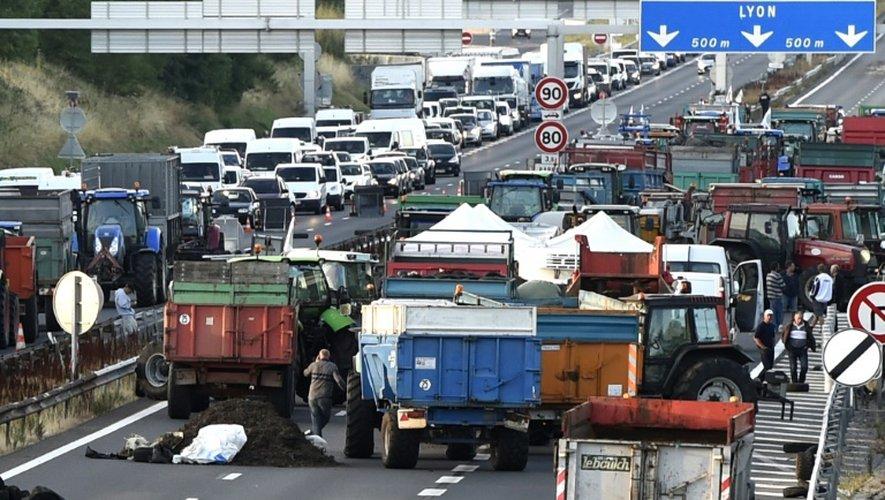 Des éleveurs bloquent l'entrée de Lyon, le 23 juillet 2015