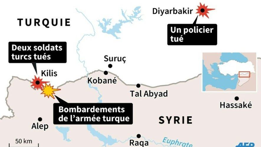 Carte de la frontière turco-syrienne localisant la région de Kilis, où l'armée turque a bombardé l'Etat Islamique après la mort de deux de ses soldats, et Diyarbakir où un policier a été tué