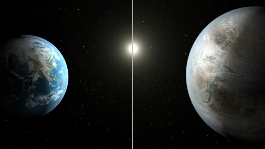 La Terre à gauche et la nouvelle planète Kepler-452b