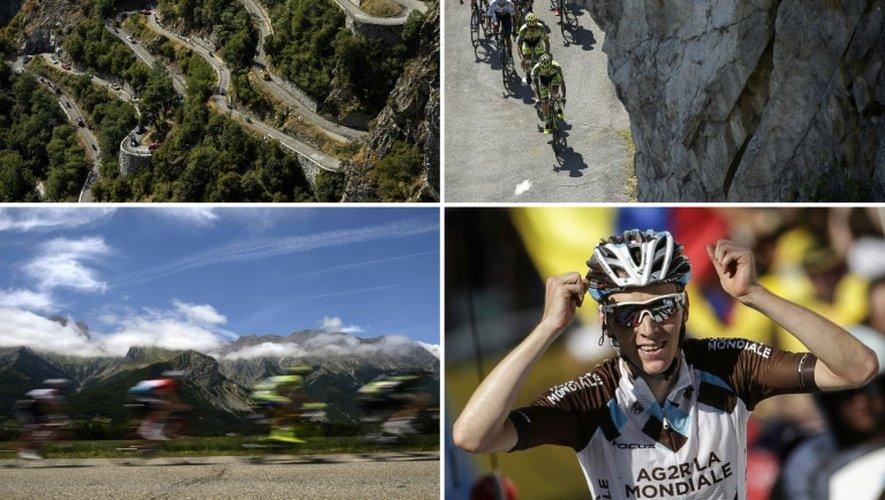 Montage de photos prises lors de la 18e étape du Tour de France, remportée par Romain Bardet, le 23 juillet 2015