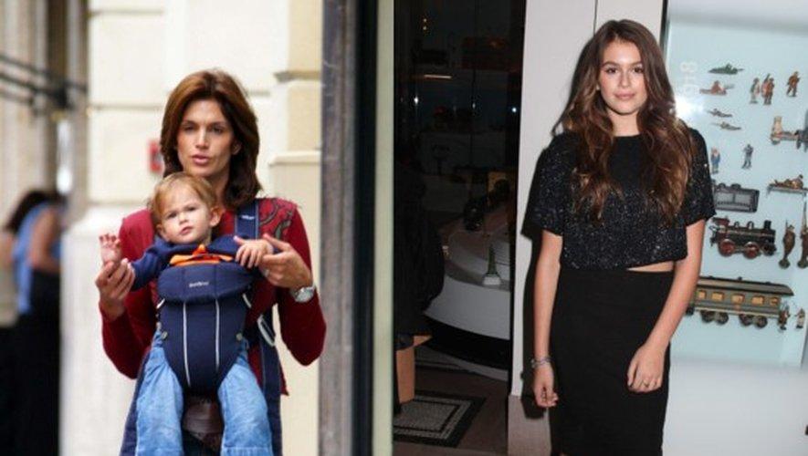 Kaia Gerber avec sa maman Cindy Crawford en 2002 et en 2015 à New York