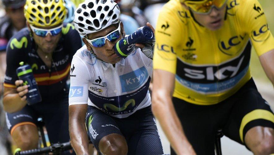 Le maillot jaune du Tour de France Chris Froome, suivi de Nairo Quintana et Alejandro Valverde, lors de la 18e étape entre Gap et Saint-Jean-de-Maurienne, le 23 juillet 2015