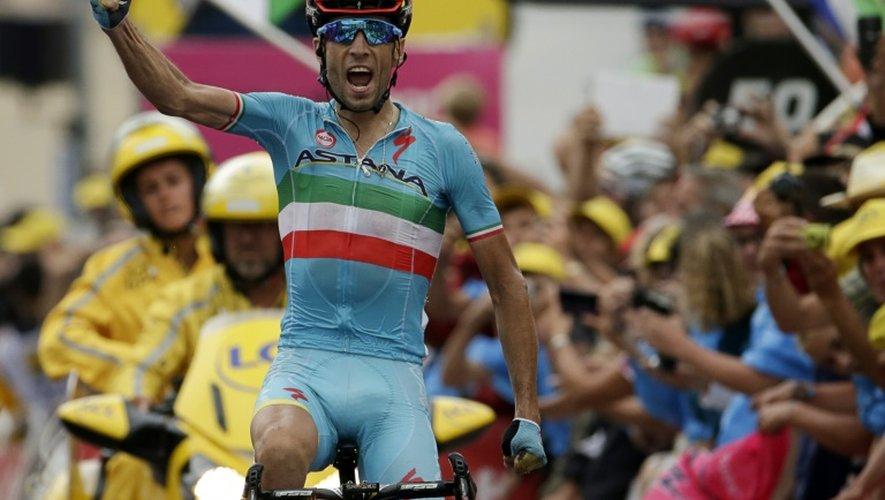 L'Italien Vincenzo Nibali, vainqueur de la 19e étape du Tour de France, à La Toussuire le 24 juillet 2015