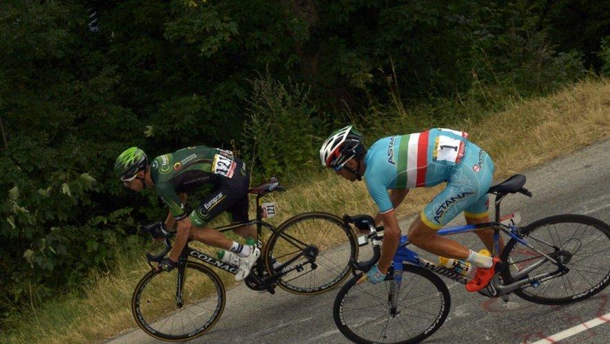 Le Français Pierre Rolland et l'Italien Vincenzo Nobali, lors de la 19e étape du Tour de France, le 24 juillet 2015 entre Saint-Jean-de-Maurienne et La Toussuire