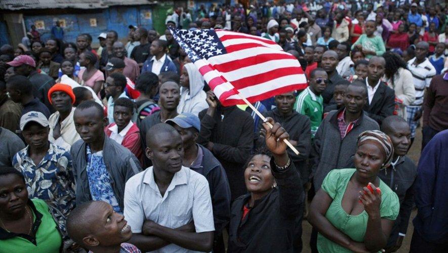 Des Kenyans rassemblés le 24 juillet 2015 à Nairobi pour la visite de Barack Obama
