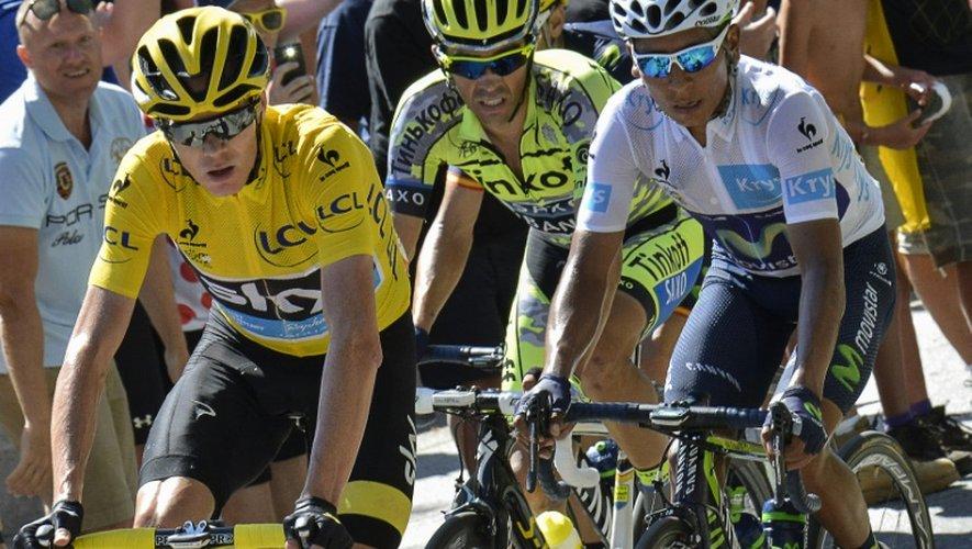 Christopher Froome, Alberto Contador et Nairo Quintana lors de la 20e étape du Tour de France le 25 juillet 2015 entre Modane Valfrejus et l'Alpe d'Huez