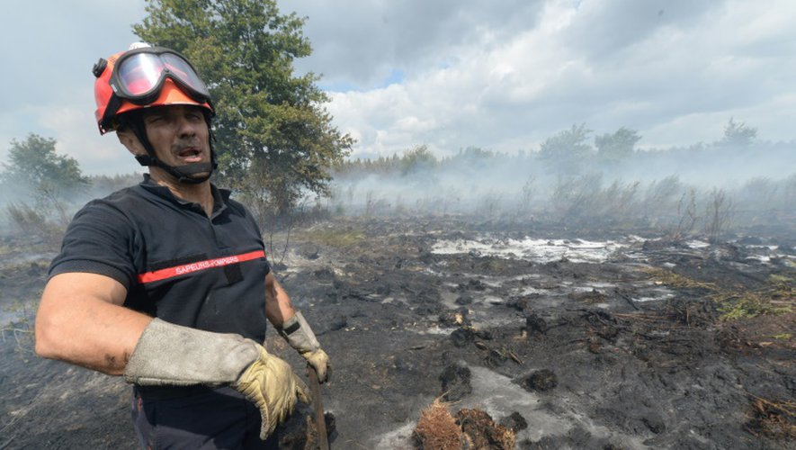 Un pompier lutte contre le feu le 25 juillet 2015 à Saint-Jean-d'Illac près de Bordeaux