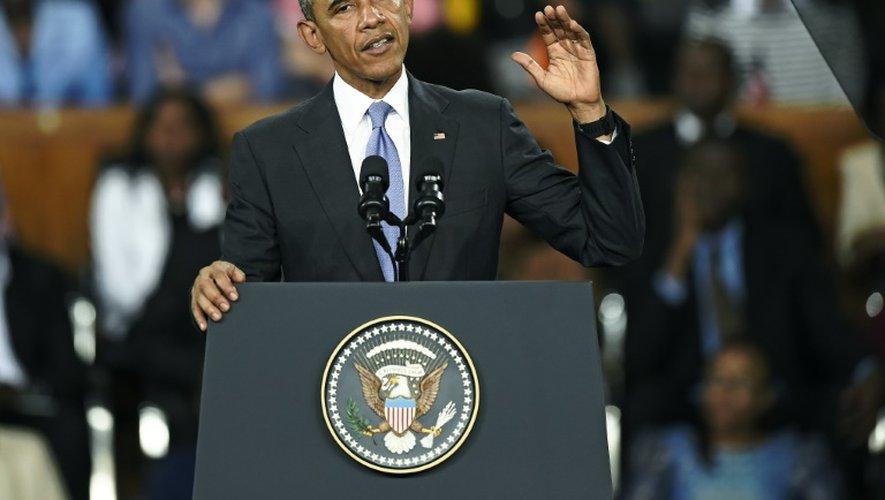 Le président Barack Obama lors d'un discours dans un complexe sportif de la capitale Nairobi, le 26 juillet 2015