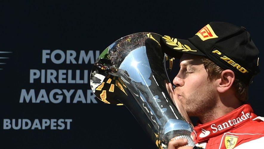 Le pilote allemand Sebastian Vettel, vainqueur du GP de Hongrie, le 26 juillet 2015