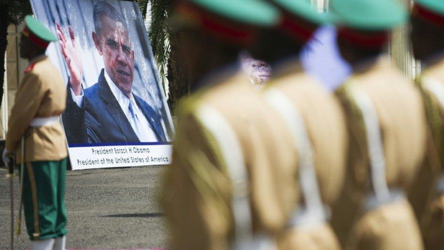 La garde nationale éthiopienne lors de la cérémonie de bienvenue au président américain, Barack Obama, le 27 juillet 2015 à Addis Abeba