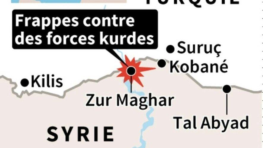 Localisation du village de Zur Maghar (Syrie) tenu par des forces kurdes et bombardé par des chars turcs lundi