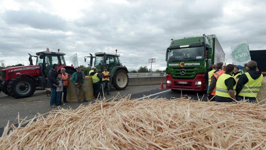 Des tracteurs bloquent le 27 juillet 2015 à Strasbourg des camions sur le pont reliant la France à l'Allemagne
