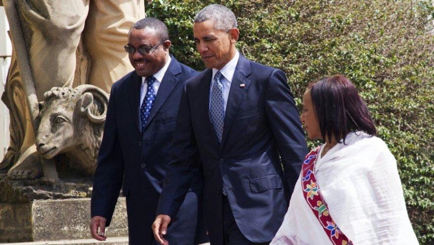 Le Premier ministre Hailemariam Desalegn (g) et le président américain Barack Obama, le 27 juillet 2015 à Addis-Abeba