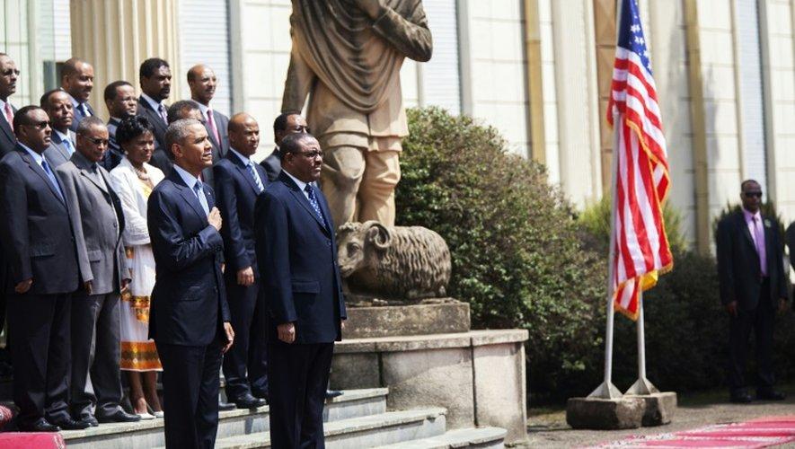 Le président Barack Obama et le Premier ministre éthiopien Hailemariam Desalegn (d), le 27 juillet 2015 à Addis-Abeba
