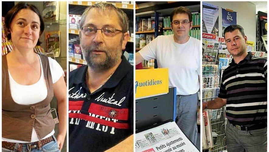 Francine Bousquet, Alain Francès, Hubert Cantagrel et Eric Redon sont les responsables respectifs des Maisons de la presse de Decazeville, Villefranche, Espalion et Laguiole.