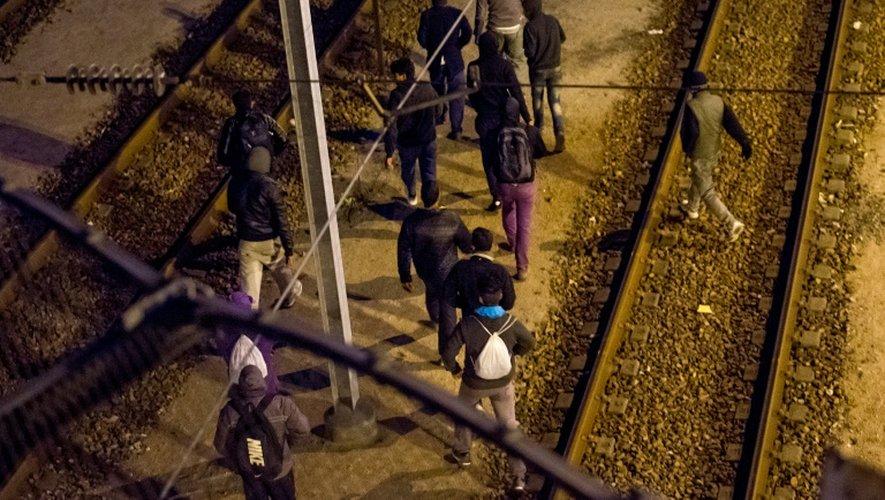 Des migrants traversent les voies le 28 juillet 2015 au terminal d'Eurotunnel à Calais-Frethyn