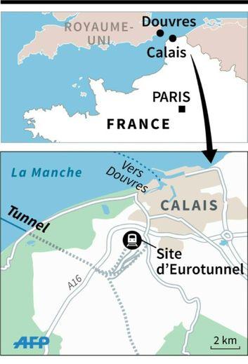 Localisation du site d'Eurotunnel, où 2 000 tentatives d'intrusion de migrants voulant embarquer vers le Royaume-Uni ont été dénombrées dans la nuit de lundi à mardi.